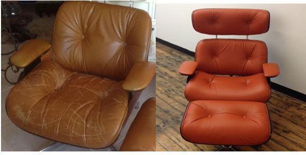 Reupholstered orange chair