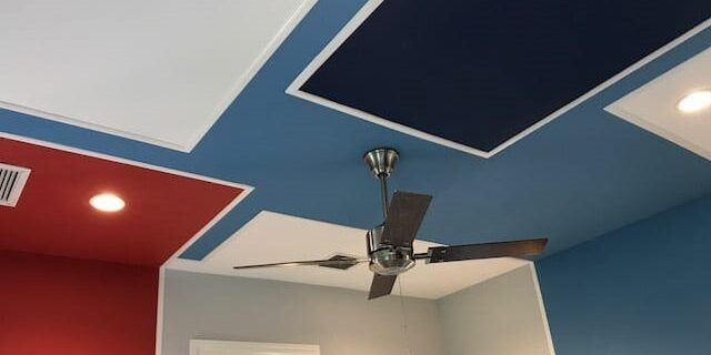 ceiling red and blue